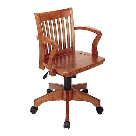 wood bankers office chair with wood seat in fruit wood 105fw