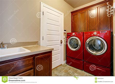 Room Appliances by Laundry Room With Modern Appliances Stock Photo