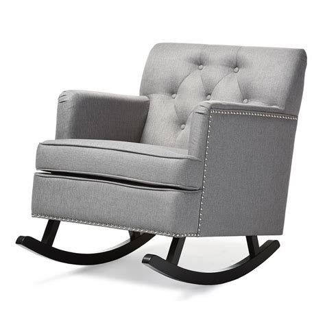 tufted rocking chair baxton studio bethany modern and contemporary grey fabric
