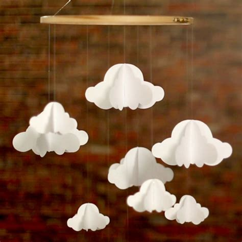 How To Make 3d Clouds Out Of Paper - nursery decorating idea inexpensive diy cloud mobile
