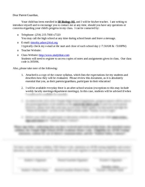 Letter Using Biology Terms Ib Biology Hl Parent Letter Odt Ib Biology Hl With Adase At Temple High School Tx Studyblue