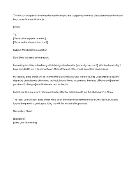 Church Membership Resignation Letter | Templates at
