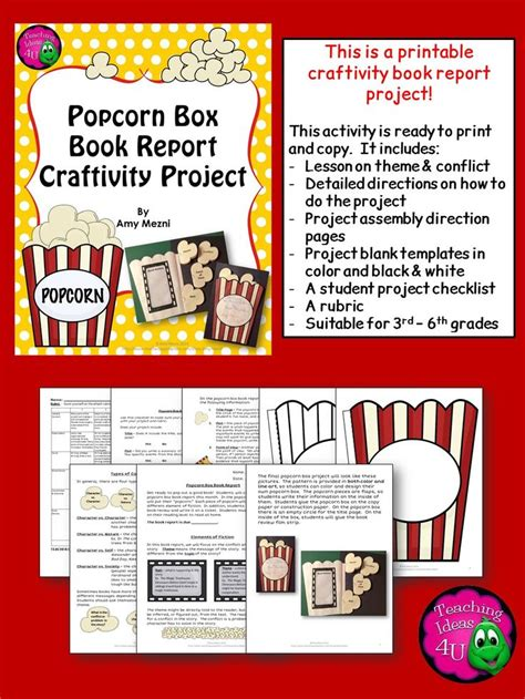 theme book report fiction popcorn box book report craftivity project theme