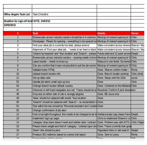 task checklist template 8 free word excel pdf