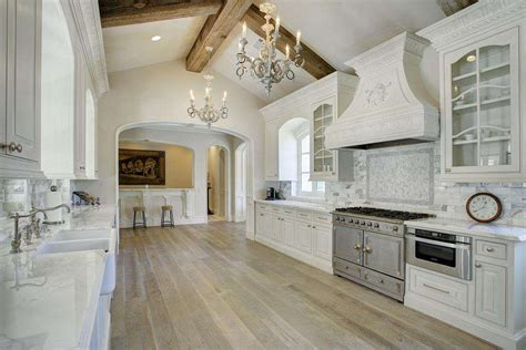 Houzz Kitchen White Cabinets Wood Beams Color Red With
