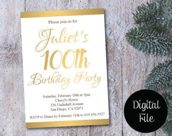 100th birthday card template 100th birthday cards etsy