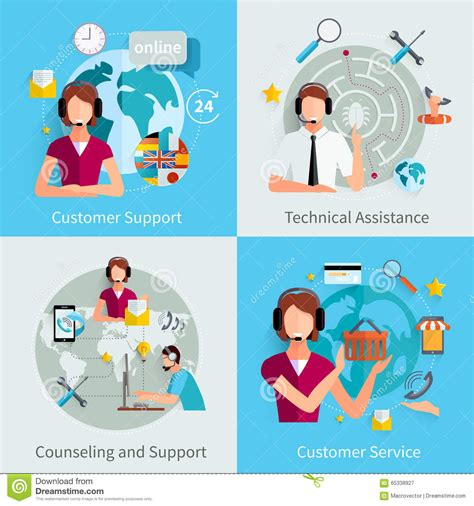 counselling and psychotherapy with in care a support guide books customer support 4 flat icons square stock vector image