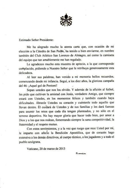 lettere per papa lettera di papa francesco al presidente san lorenzo