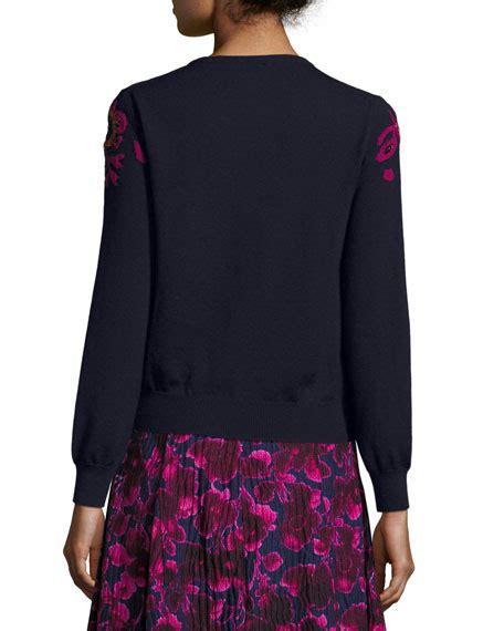 Sweater Frj Navy Oscar De La Renta Dress Cardigan Scarf