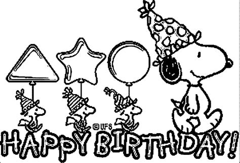 happy birthday snoopy coloring pages snoopy birthday cards coloring page wecoloringpage
