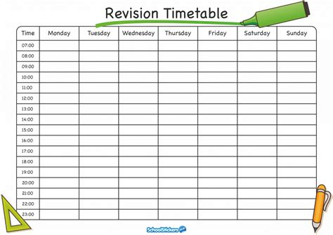 printable revision planner the school stickers revision timetable is here school