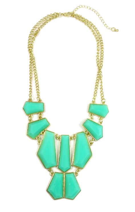 turquoise geometric resin chunky statement necklace
