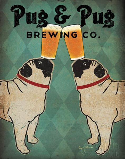 pug and pug brewing co pet canvas prints