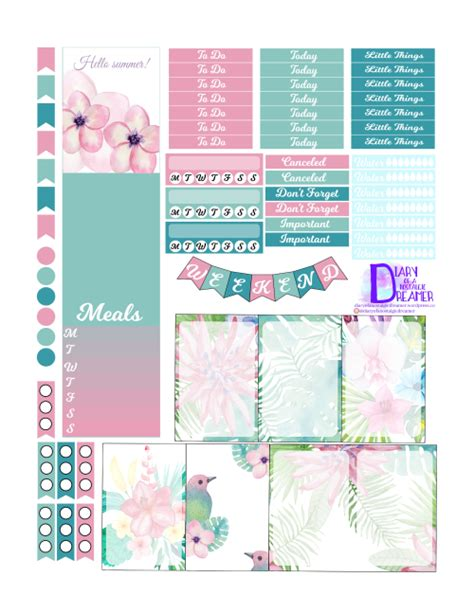 printable planner stuff tropical summer kit freebie for happy planner diary of a
