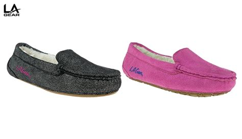lb womens slippers 59 la gear foil faux suede moccasin with faux fur
