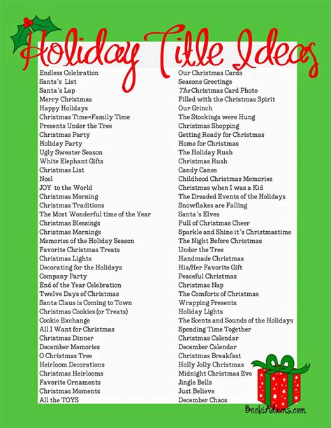 christmas theme names for parties becki 76 page title ideas