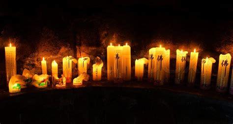 buddhist altar  candles  gwaneumsa temple  jeju