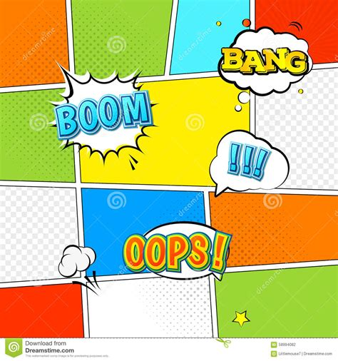 Vector Mock Up Of A Typical Comic Book Page Stock Vector Illustration Of Bubble Graphic 58994082 Comic Book Template Powerpoint