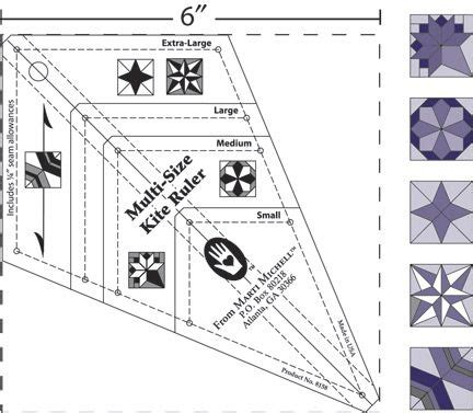 printable quilting ruler multi size kite ruler for periwinkle block and more