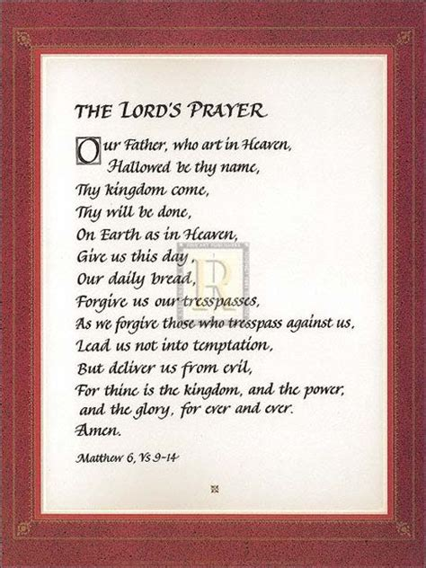 printable version of lord s prayer quot the lord s prayer quot christian print small version
