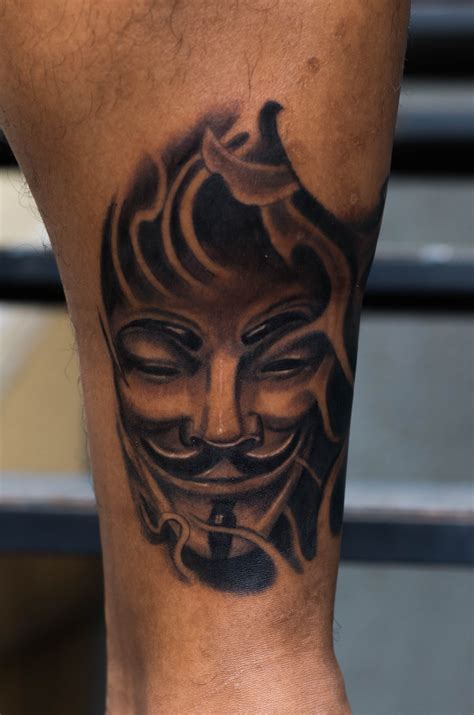 guy fawkes tattoo fawkes mask by pradeep junior at astron tattoos