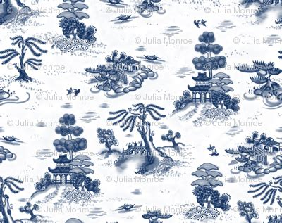 willow pattern wallpaper blue willow toile fabric juliamonroe spoonflower
