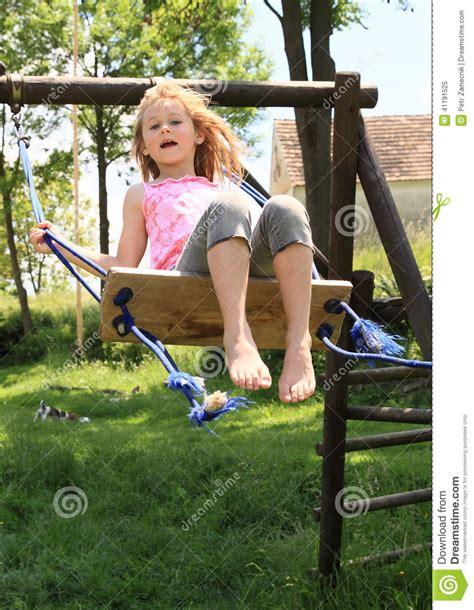 girl swing kid girl on swing stock image image of barefoot