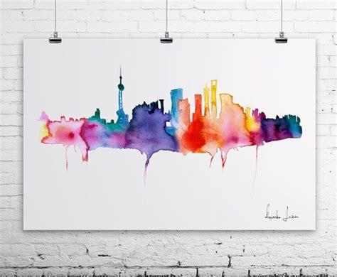 watercolor tattoo london shanghai city watercolor painting print wall