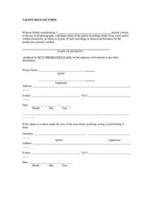 talent release form template doc 585660 talent release form template sle