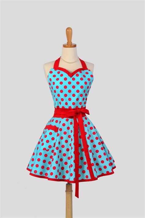 sweetheart retro apron handmade flirty womens apron in