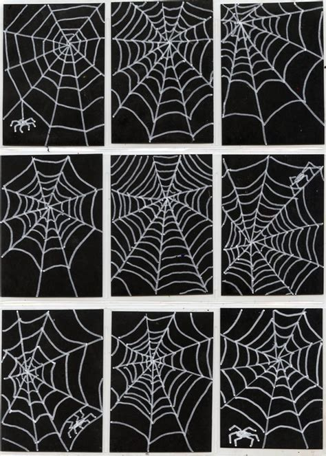 black craft paper spiderweb trading cards projects for
