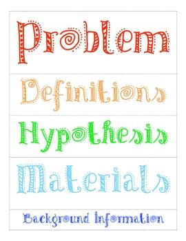 Science Fair Labels For Poster By Caroline Sweet Tpt Science Fair Project Templates