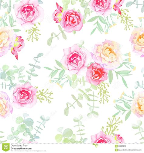 delicate roses seamless vector pattern in shabby chic
