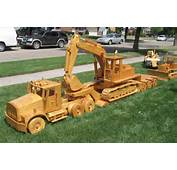 Yard Full Of Wooden Construction Equipment Models In Large Scale