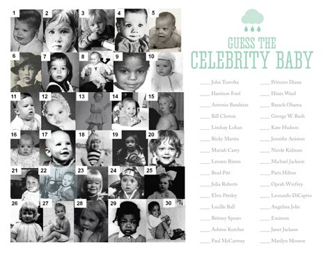 guess the celebrity nellie design rain shower baby shower