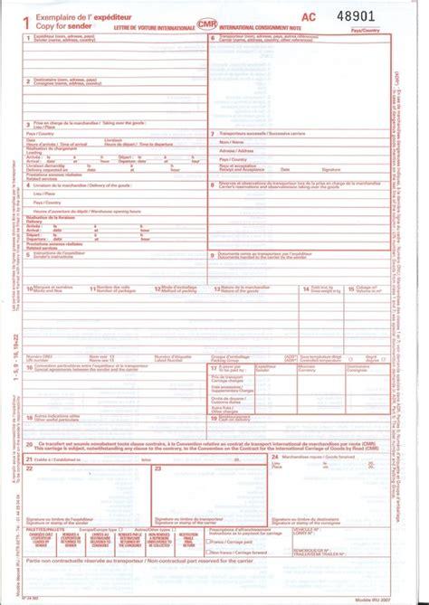 Modèle Lettre De Voiture Lettre De Voiture Internationale Cmr Pour Transport Routier Disponible 224 Lyon Papeterie Gouchon