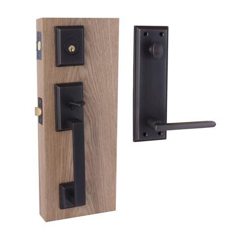 Exterior Door Handleset Shop Hill Brass Black Dual Lock Keyed Entry Door Handleset At Lowes