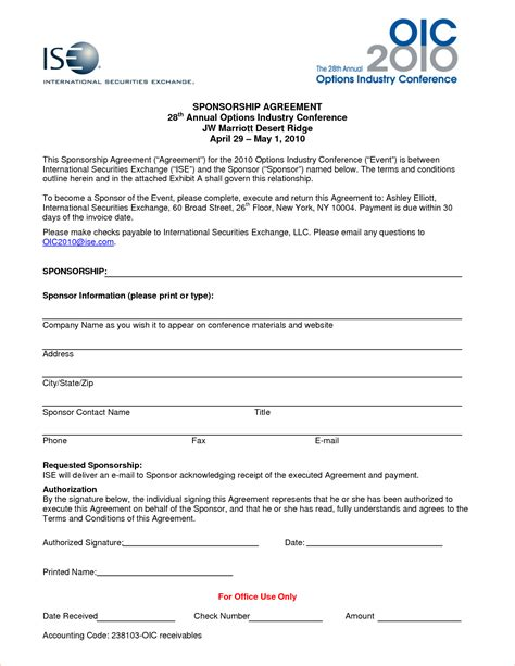 sponsor agreement template 7 sponsorship agreementreport template document report