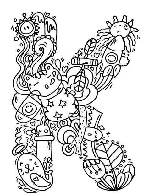 alphabet quot k quot doodle art elephant bell drawings