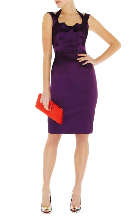 Purple Satin Dress millen signature stretch satin dress in purple lyst