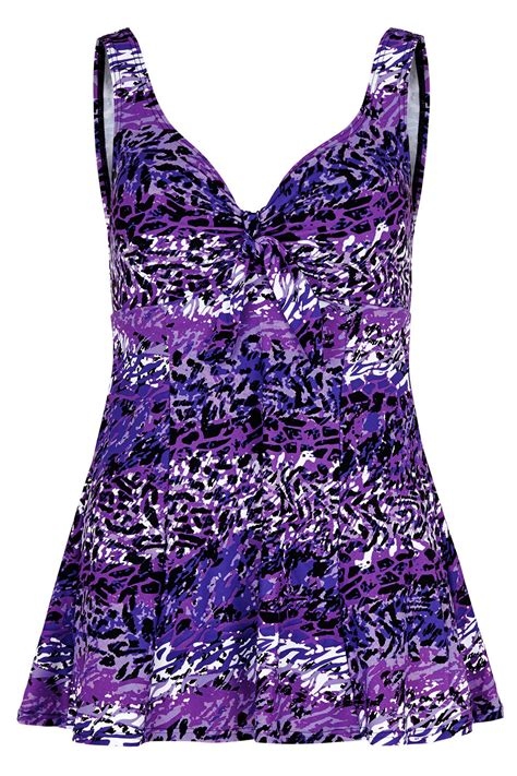 Print Swim Dress purple animal print swim dress