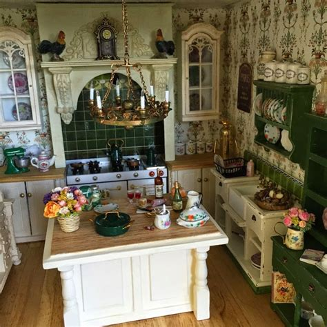 dolls house kitchen furniture miniature country kitchen roosters kitchen island glass front cabinets mini project