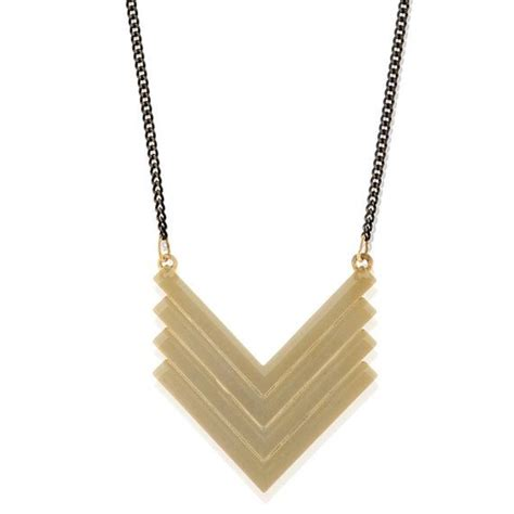 gold chevron geometric pendant with black necklace for