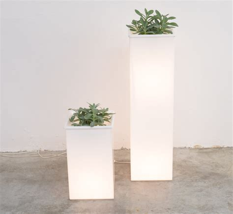 White Plant Containers Vintage White Perspex Lighted Plant Pots 1970s Set Of 2
