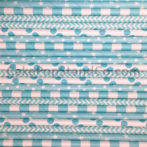 light blue paper straws light blue paper straws in a variety of patterns
