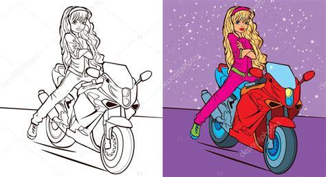 livro de colorir da menina passeio de bicicleta vetores
