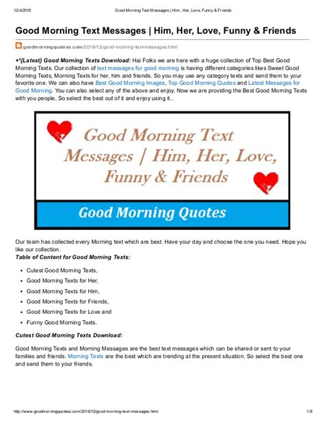 good morning text messages him her love funny and friends