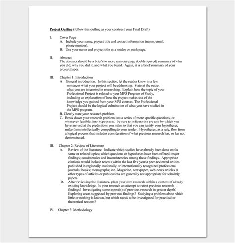 project outline template   word  excel   format
