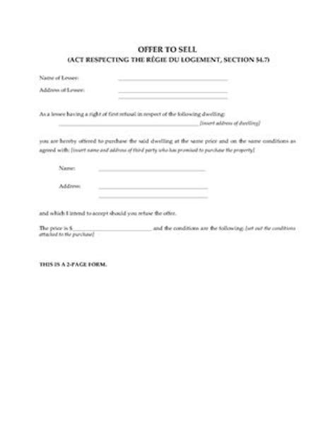 offer to sell template residential lease rental forms forms and