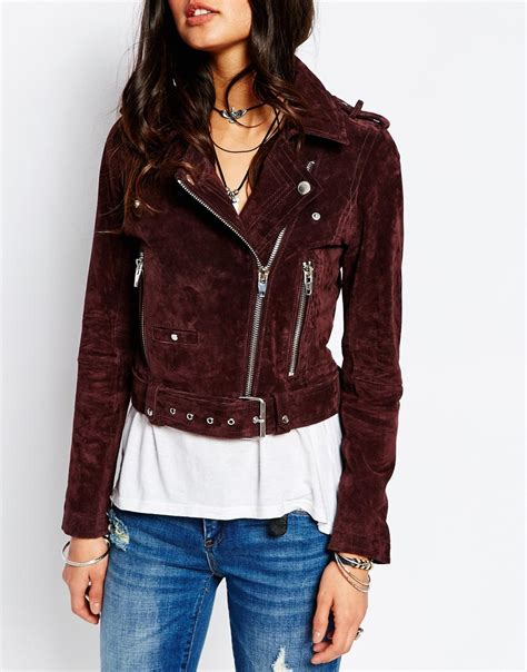 moto biker jacket blank suede moto biker jacket in purple lyst